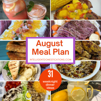 August Monthly Meal Plan Free Printable