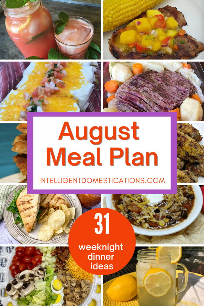August Meal Plan with pictures of dinner recipes