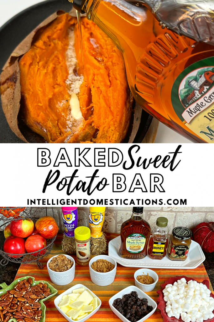 a baked sweet potato with maple syrup being poured onto it and a toppings bar for baked sweet potatoes