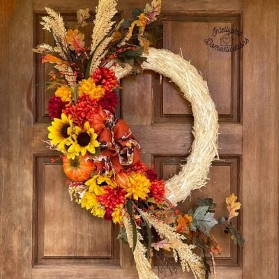 DIY Fall Wreath with Mums and Pumpkins