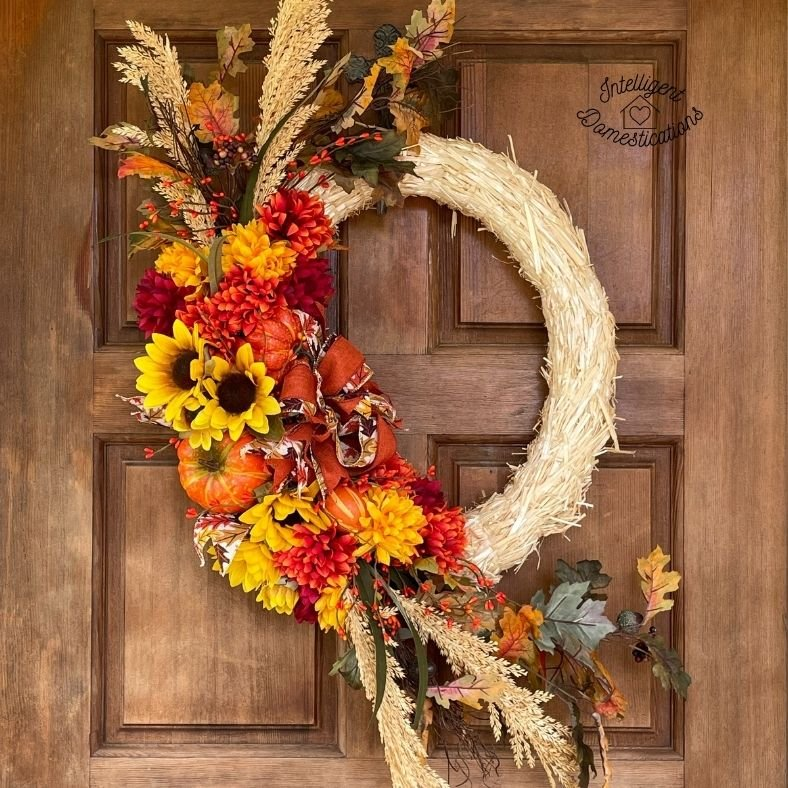 a fall wreath on a front door