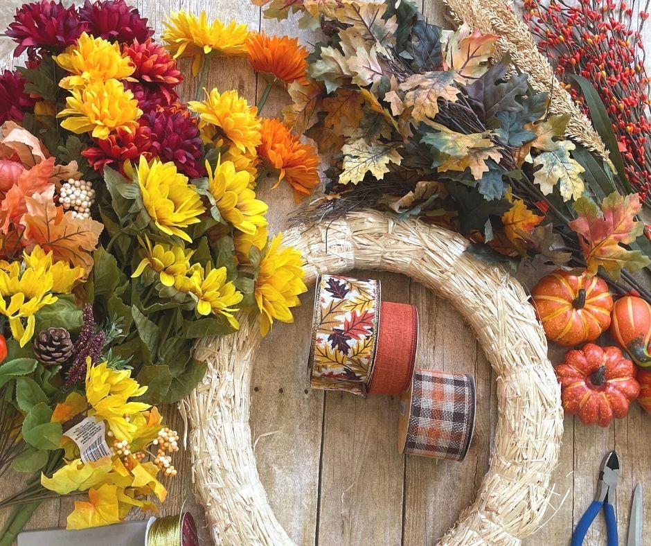 Fall wreath making supplies