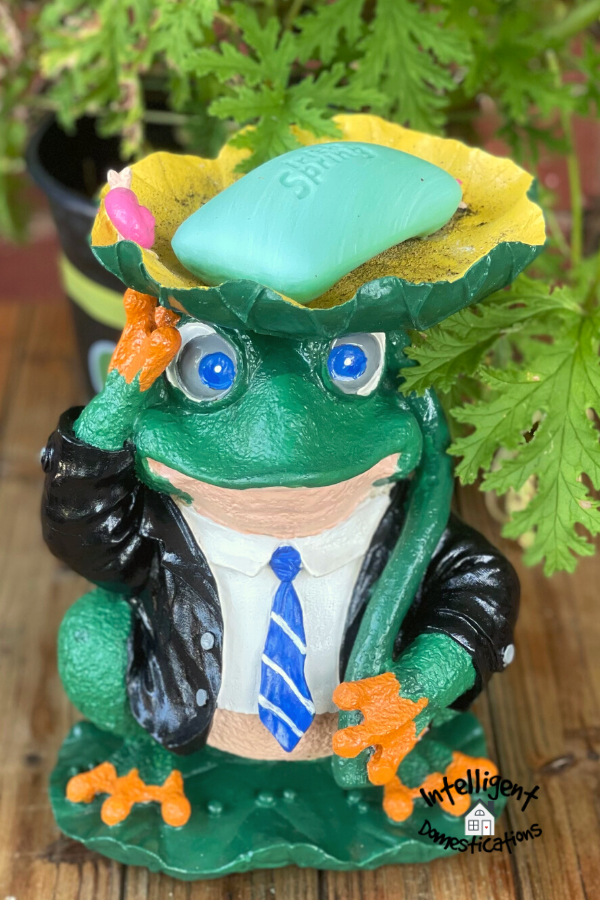 Frog statue holding a bar of Irish Spring soap on. an outdoor table