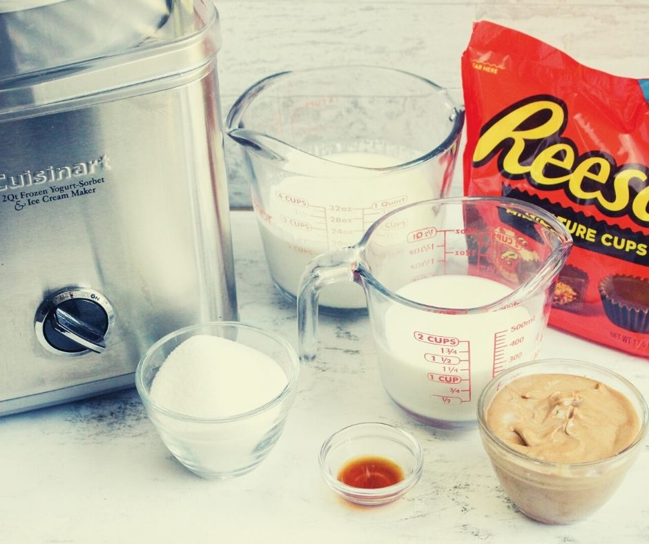 Ice Cream Maker and Ingredients for Reese's Ice Cream