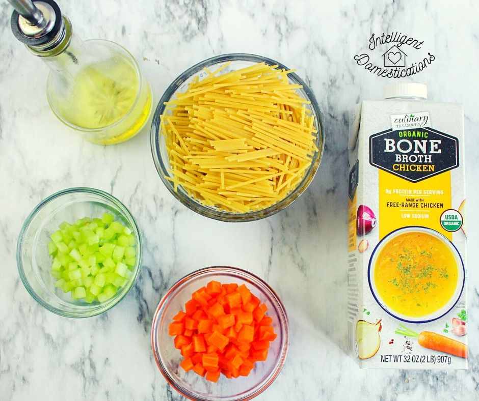 Ingredients for homemade chicken noodle soup recipe