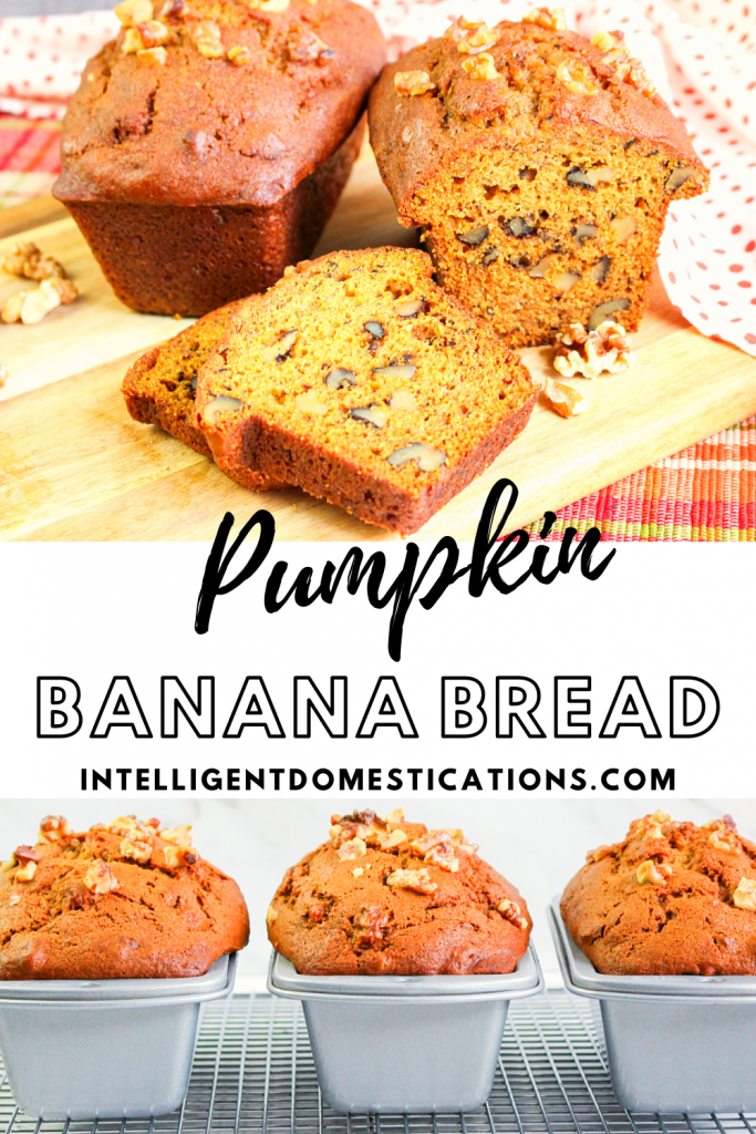 Pumpkin Banana Bread Loaves sliced and unsliced