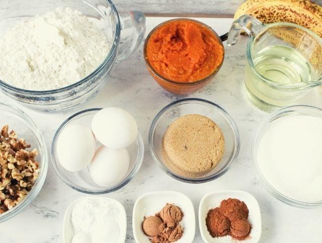 Ingredients for Pumpkin Banana Bread
