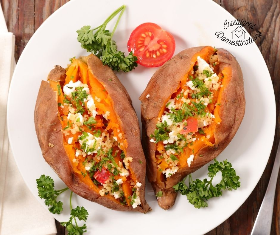 Savory stuffed baked sweet potatoes