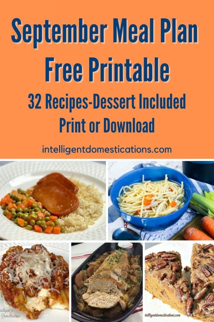 September Meal Plan Free Printable