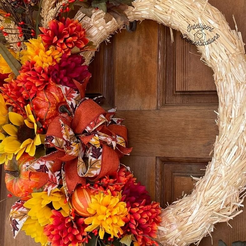 a close up look at a fall wreath
